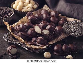 Chocolate and macadamia clusters