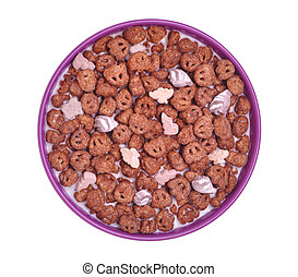 Chocolate and marshmallow cereal in purple bowl isolated on white