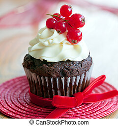Chocolate and red berry cupcakes
