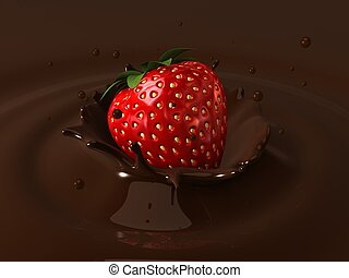 chocolate and strawberry - 3d rendered illustration of a...
