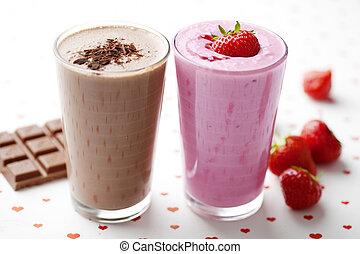 chocolate and strawberry milkshakes