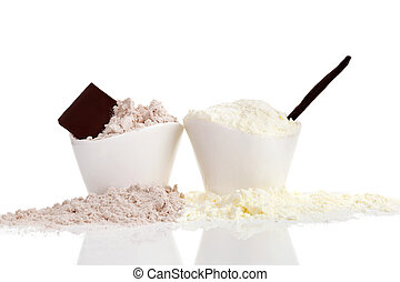 Chocolate and Vanilla protein powder.
