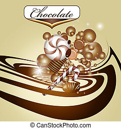 Chocolate background and candy