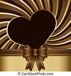 Chocolate background - Background with heart and ribbon