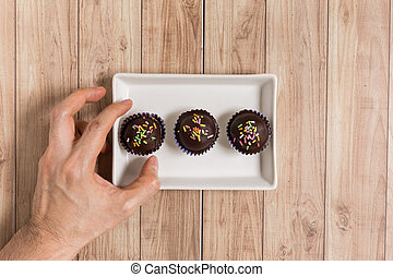 Chocolate Ball Cake - Fresh chocolate ball cakes sprinkled...