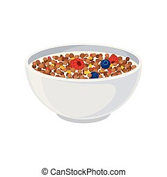 Chocolate balls in milk with berries in a ceramic bowl close-up. Vector illustration on white background.