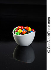 chocolate balls on a background