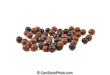 Chocolate balls on a white background.