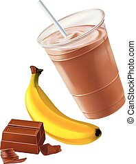 Chocolate banana shake or smoothie