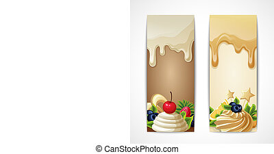 Sweets dessert food white chocolate and caramel vertical vector illustration