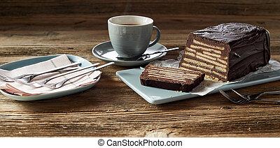 Chocolate bar cake with coffee