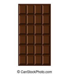 Chocolate bar isolated on the white background. Vector illustration.