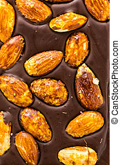 Gourmet almighty almond chocolate bar on a white background.