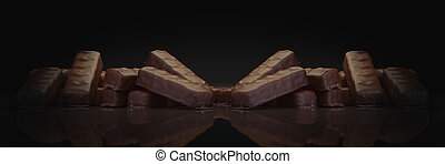 chocolate bar in dark background. 3d rendering