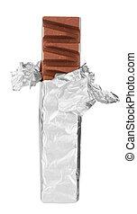 Chocolate bar in foil
