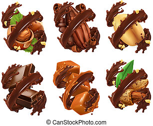 Chocolate bar, nuts, caramel, cocoa bean in chocolate splash. 3d realistic vector