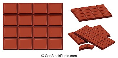 Chocolate bar on white background