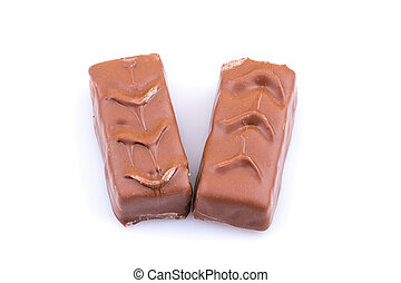 Chocolate bar with caramel on white