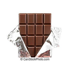 chocolate bar with open cover on white