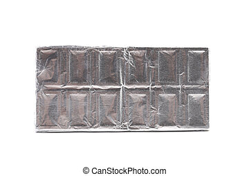 Chocolate bar wrapped in foil.