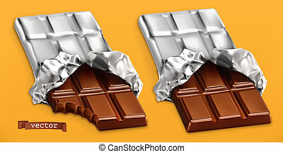 Chocolate bars, 3d realistic vector