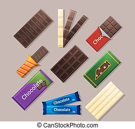 Chocolate bars icons in flat style and long shadow.Dark,...