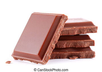 chocolate bars isolated on white