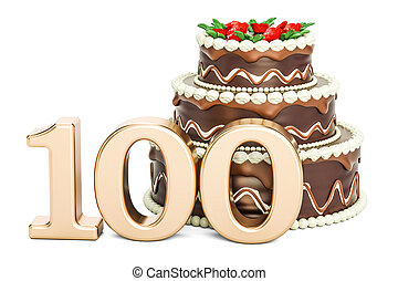 Chocolate Birthday cake with golden number 100, 3D rendering...