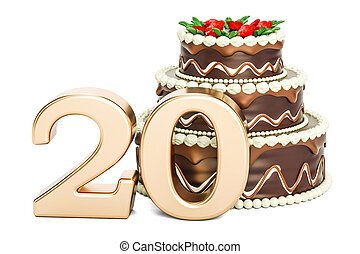 Chocolate Birthday cake with golden number 20, 3D rendering