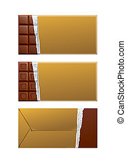 Chocolate blank package. Gold wrapper - Mockup Chocolate...