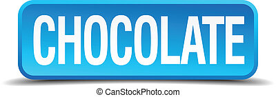 chocolate blue 3d realistic square isolated button