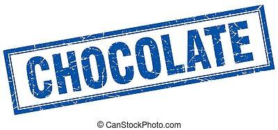 chocolate blue square grunge stamp on white