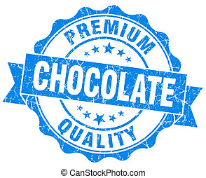Chocolate blue vintage seal isolated on white