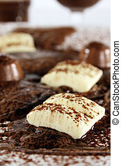 Chocolate bonanza with white chocolate chunks, melted...