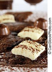 Chocolate bonanza with white chocolate chunks, melted...