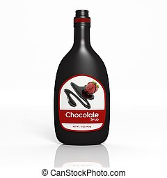 chocolate, botella, jarabe, aislado, 3d, blanco