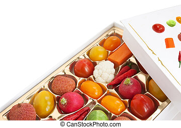 Chocolate box with vegetables