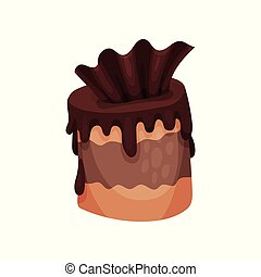Chocolate brownie cartoon vector Illustration on a white...
