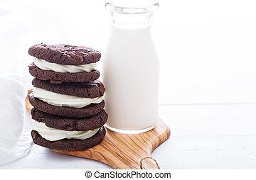 chocolate, brownie, galletas, con, crema, relleno