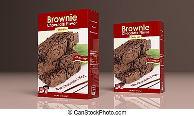 Chocolate brownie mix paper packages. 3d illustration