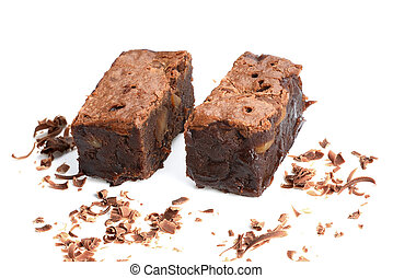 Chocolate brownie on white background.