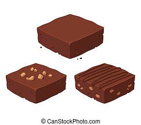 Chocolate brownie set - Chocolate fudge brownie isometric...