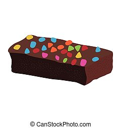 Chocolate brownie with chips. Vector illustration design