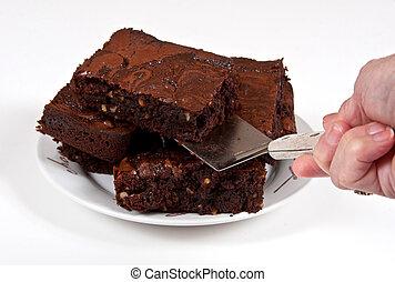 Chocolate Brownies Being Served