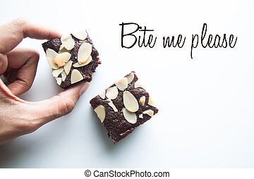 Chocolate brownies, Bite me please, wording