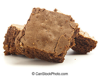 chocolate brownies isolated on a white background