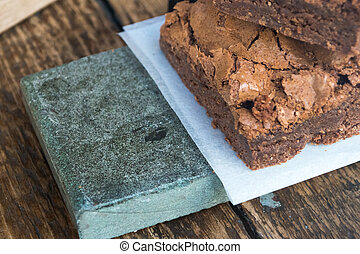 Chocolate Brownies & Wooden Table (2)
