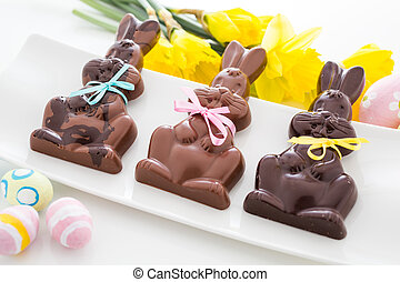 Chocolate bunnies - Easter chocolate bunnies made from solid...