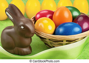 Chocolate bunny and Easter eggs