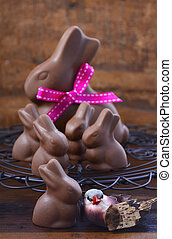 Chocolate bunny easter eggs.
